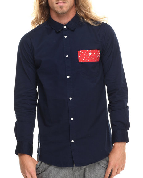 Wesc - Men Navy Arak Contrast - Pocket L/S Button-Down - $51.99