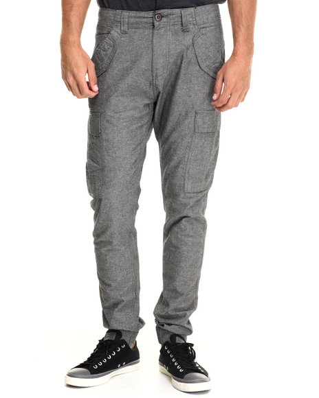 Buyers Picks - Men Grey Slub Chambray Jogger Cargo Pants
