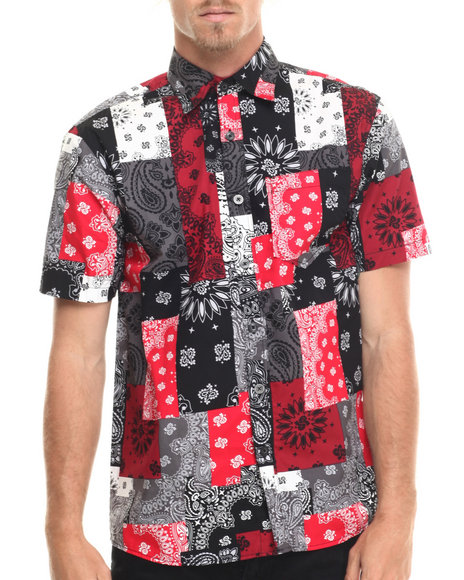 Ur-ID 215620 Akademiks - Men Red Harbor Patch Bandana S/S Button Down Shirt
