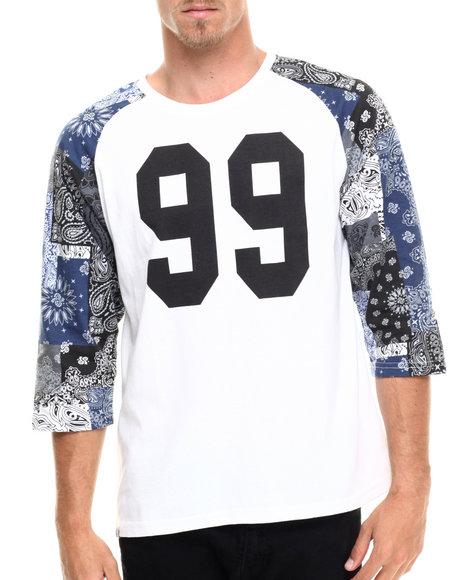 Ur-ID 215626 Akademiks - Men White Hartley 3/4 Raglan Sleeve Bandana Patchwork Shirt