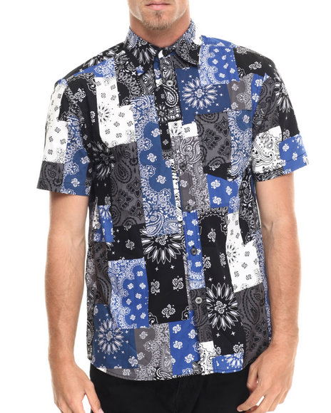 Akademiks - Men Black Harbor Patch Bandana S/S Button Down Shirt