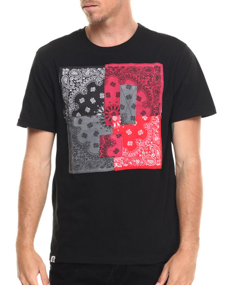 Akademiks - Men Black Hanks Bandana Patchwork S/S Tee