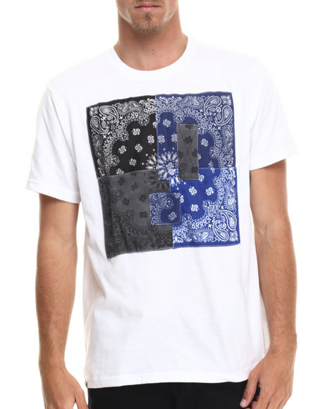 Akademiks - Men White Hanks Bandana Patchwork  S/S Tee