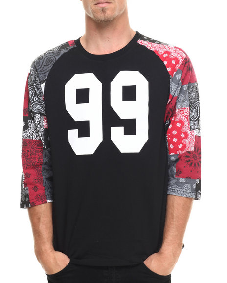 Akademiks - Men Black Hartley 3/4 Raglan Sleeve Bandana Patchwork Shirt