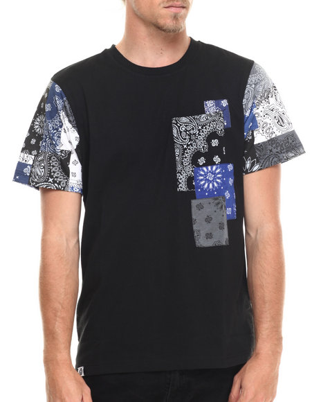 Ur-ID 215655 Akademiks - Men Black Jacob Bandana Patchwork S/S Tee
