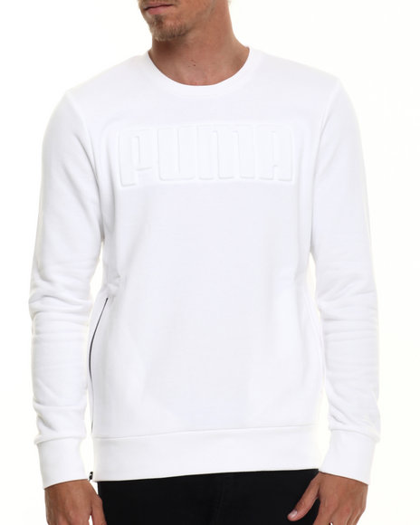 Puma - Men White Signature Embossed Crewneck Sweatshirt