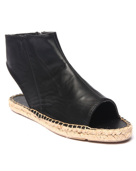 Fashion Lab - Women Black Shawn Open Toe Flat Espadrille Sandal
