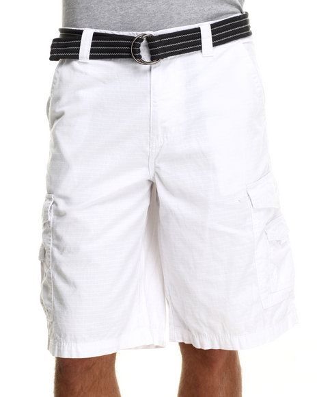 Buyers Picks - Men White Front Stage Belted Ripstop Cargo Shorts