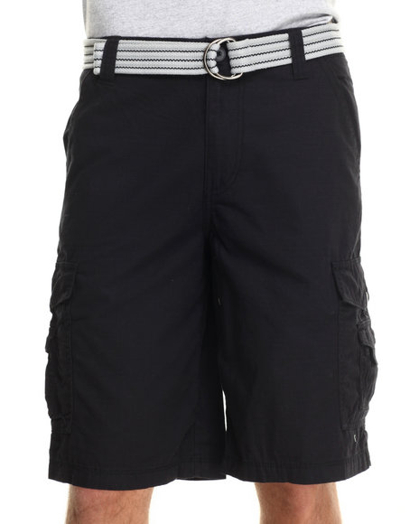 Buyers Picks - Men Black Front Stage Belted Ripstop Cargo Shorts