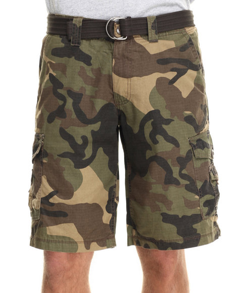 Buyers Picks - Men Camo Army Stage Ripstop Army Belted Cargo Short