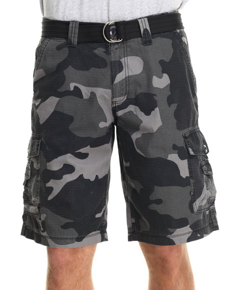 Buyers Picks - Men Black,Camo Army Stage Ripstop Army Belted Cargo Short