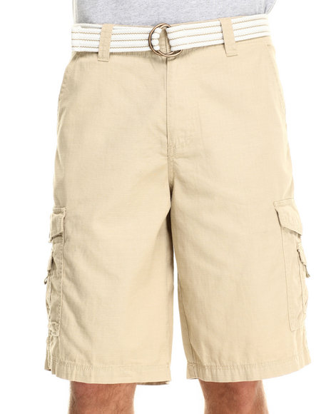 Buyers Picks - Men Light Blue Front Stage Belted Ripstop Cargo Shorts