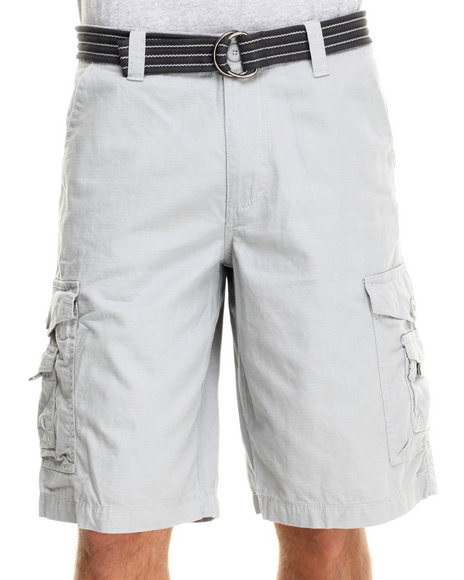 Buyers Picks - Men Grey Front Stage Belted Ripstop Cargo Shorts