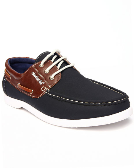 Ur-ID 215588 Akademiks - Men Navy 2-Tone Laced Boat Shoe