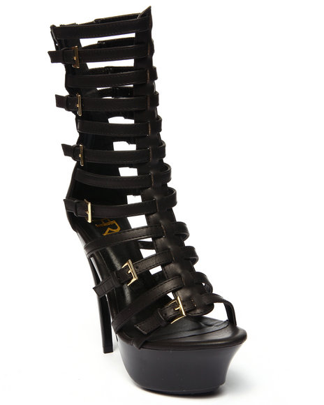 Ur-ID 215698 Fashion Lab - Women Black Hebe Open Toe Strappy Platform Pump