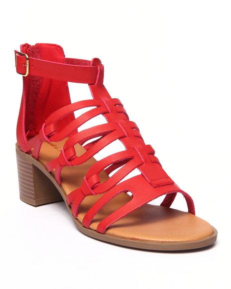 Ur-ID 215683 Fashion Lab - Women Red Cecilla Open Toe Gladiator Heel Sandal