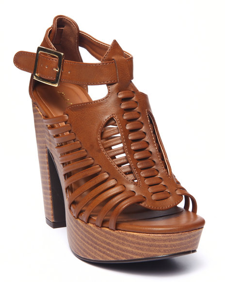 Ur-ID 215684 Fashion Lab - Women Tan Toby Open Toe Caged Heeled Platform Sandal