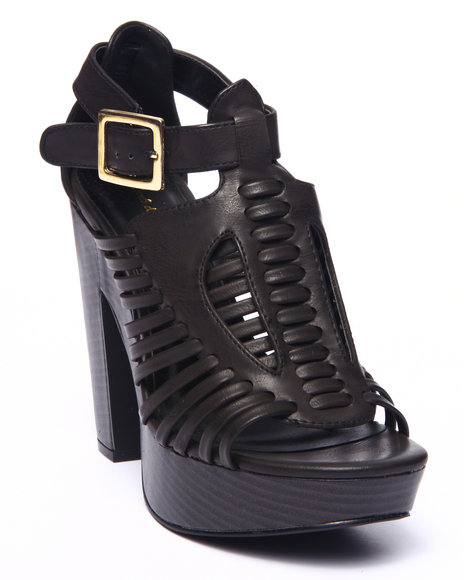 Ur-ID 215685 Fashion Lab - Women Black Toby Open Toe Caged Heeled Platform Sandal
