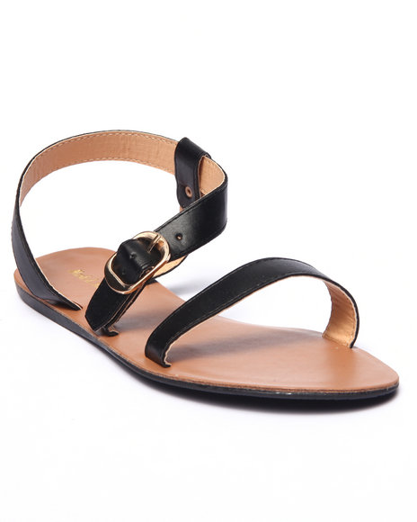 Ur-ID 215688 Fashion Lab - Women Black Jerry Open Toe Flat Sandal
