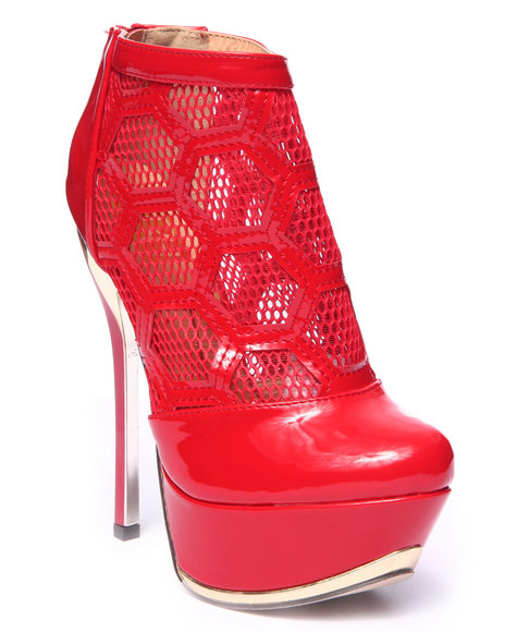 Ur-ID 215695 Fashion Lab - Women Red Amy Patterned Mesh Platform Pump