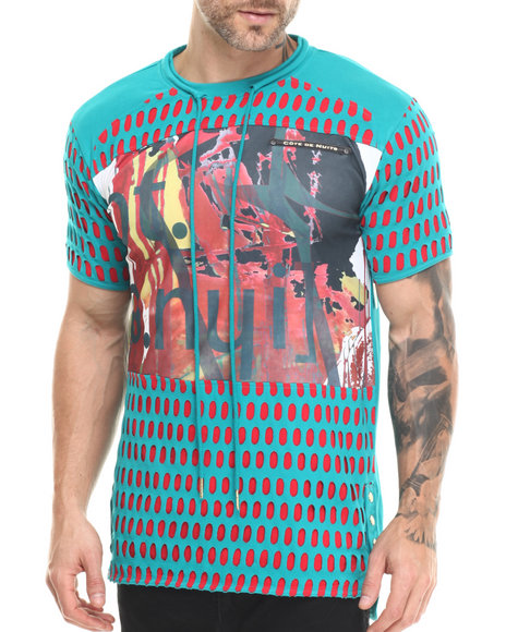 Heritage America - Men Green Laser Cut T-Shirt