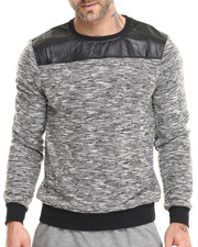 Pullover Sweatshirts - Melange Crewneck Sweatshirt (Faux Leather Trim)