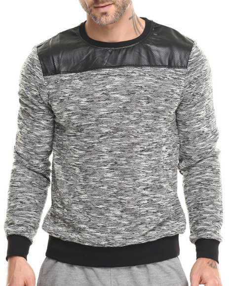 Buyers Picks - Men Black Melange Crewneck Sweatshirt (Faux Leather Trim)