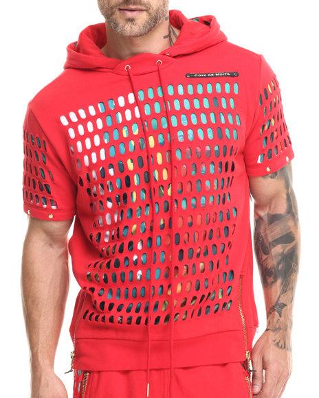 Ur-ID 215731 Cote De Nuits - Men Red Laser Cut S/S Hoodie