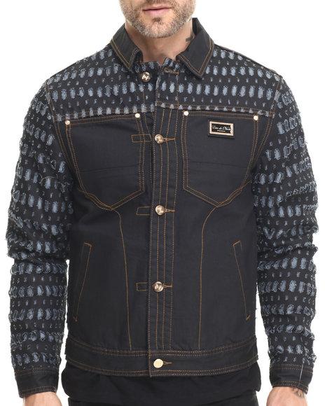 Ur-ID 215755 Cote De Nuits - Men Dark Wash Laser Cut Denim Jacket