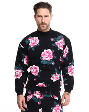 Men - 8bit floral highneck crew