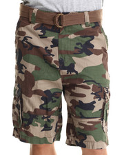 Men - Olive Camo Ripstop Belted Double Pocket Cargo Shorts