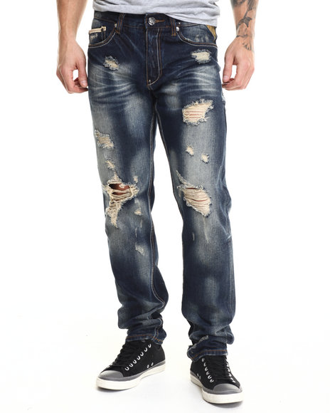 Ur-ID 215709 Heritage America - Men Dark Wash Laser Cut Denim Jeans