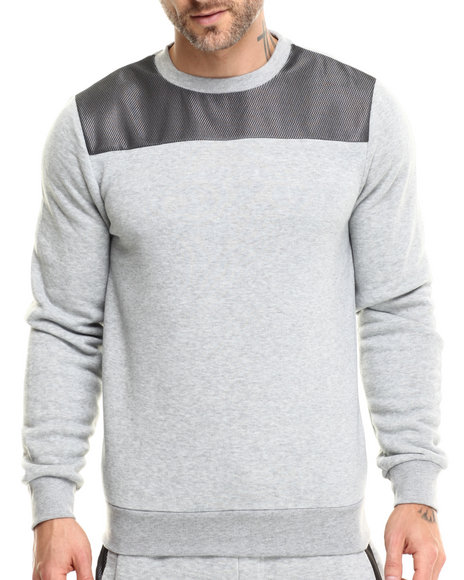 Ur-ID 215717 Buyers Picks - Men Grey Mesh Shoulder Crewneck Sweatshirt