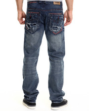 Men - Dark Indigo Wash Premium Rip Denim Jeans