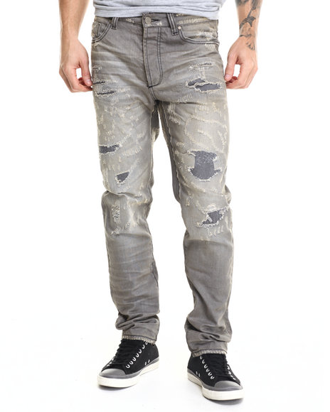 Ur-ID 215720 Cote De Nuits - Men Grey Cote Distressed Denim Jeans