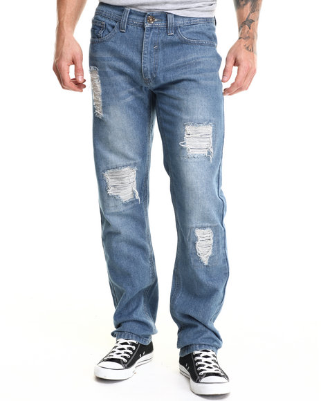 Buyers Picks - Men Light Wash Light Stone Wash Premium Rip Denim Jeans