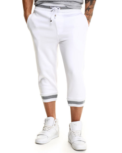 Buyers Picks - Men White 2-Tone Fleece Jogger Shorts