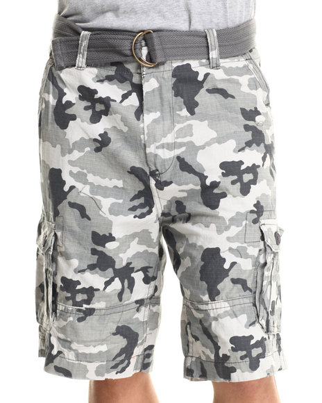 Buyers Picks - Men Camo Grey Cam Ripstop Belted Double Pocket Cargo Shorts