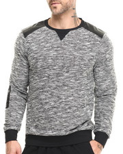 Pullover Sweatshirts - Elbow Patch Trim Melange Crewneck Sweatshirt