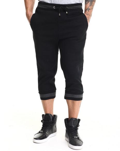 Buyers Picks - Men Black 2-Tone Fleece Jogger Shorts
