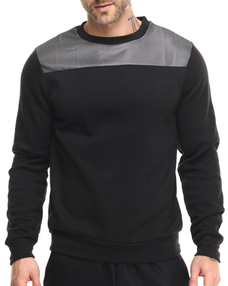 Buyers Picks - Men Black Mesh Shoulder Crewneck Sweatshirt