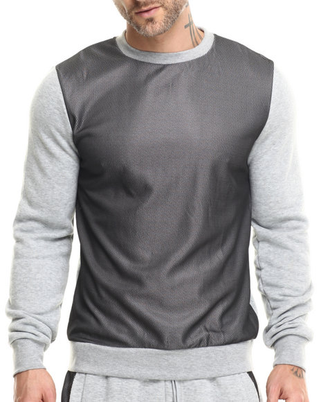 Buyers Picks - Men Grey Mesh Front L/S Shirt