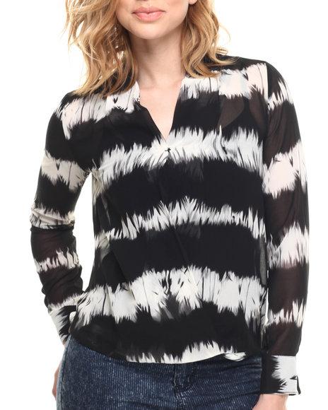 Ur-ID 215767 Vertigo - Women Black Tie Dye Roll Sleeve Woven Top