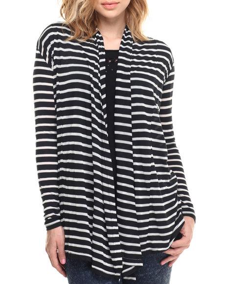 Ur-ID 215782 Vertigo - Women Black,White L/S Striped Cozi Cardi