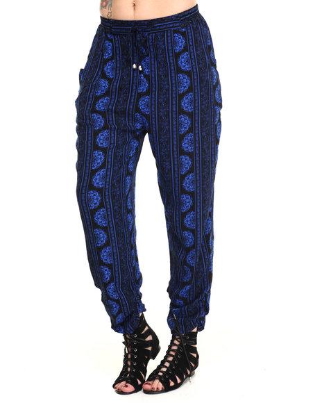 Ur-ID 215791 Vertigo - Women Blue Printed Tie Waist Soft Harem Pant