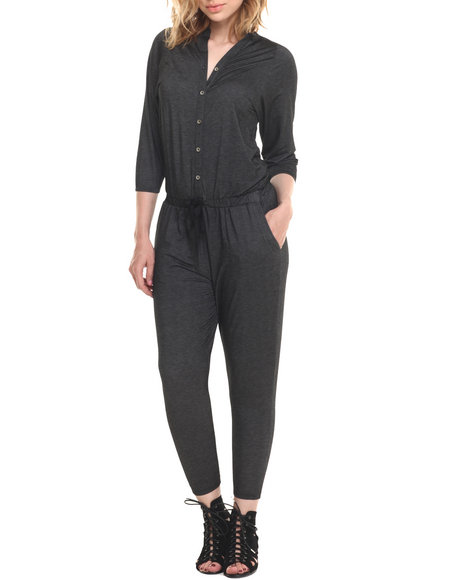 Ur-ID 215794 Vertigo - Women Black Drop Waist 3/4 Sleeve Jumpsuit