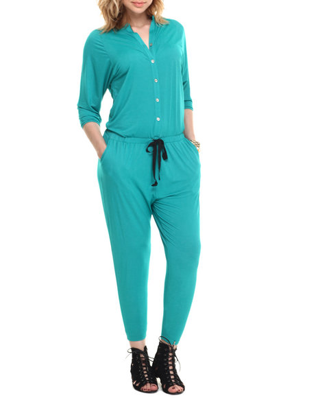 Ur-ID 215878 Vertigo - Women Teal Drop Waist 3/4 Sleeve Jumpsuit
