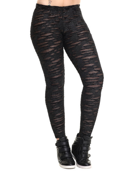 Ur-ID 215772 Vertigo - Women Charcoal Stretch Burnout Mesh Legging