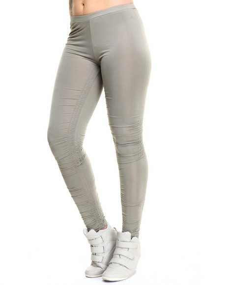 Ur-ID 215774 Vertigo - Women Grey Caterpillar Rouched Sides Legging