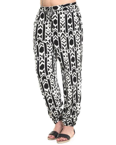Ur-ID 215785 Vertigo - Women Black,Ivory Aztec Print Tie Waist Soft Harem Pant